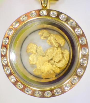 Floating Natural GOLD NUGGET Locket Gold .783 Grams Glass Bezel Pendant w chain