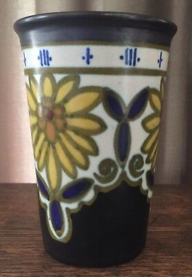 1928 Gouda Plazuid Holland 4 1/2 Vase - Brown, Yellow, White, Cobalt, & Gold