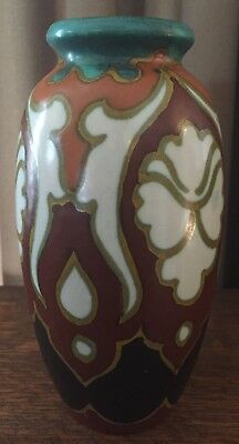 1923 Gouda Betty Vase, Holland - 7 1/4 Inches - Turquoise, Orange, Red, & White
