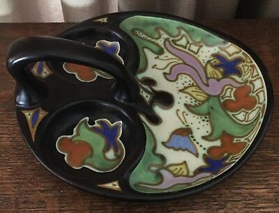 Goedewaagen Gouda Holland Serve Dish w/ Handle Matte Black Green Cobalt Orange