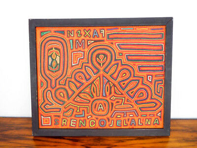 Vintage 1970s Fabric Orange Embroidery Mixed Media Art Abstract Tribal Painting