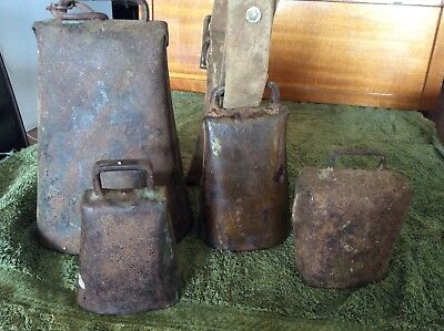 4 X  Old Original  Condamine Kentucky Andersen Cow Bell Bells Named 8.5 Inches