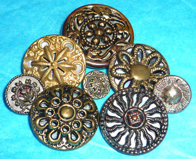 Antique Vintage Victorian Twinkle Floral Brass Metal Buttons Lot
