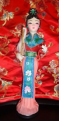 "VTG Cloth Asian Chinese Doll Figure 10"" w/Hand Painted Face & Pleated Dress"