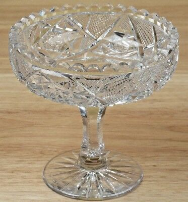 Antique Cut Crystal Compote Nut Dish Candy Bowl Footed Sawtooth Edge 4.75in R