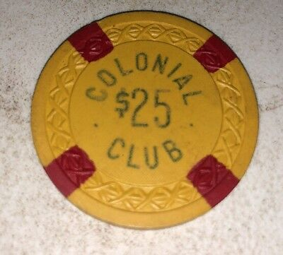 Colonial Club $25 Illegal Casino Chip Weave North Carolina 2.99 Shipping