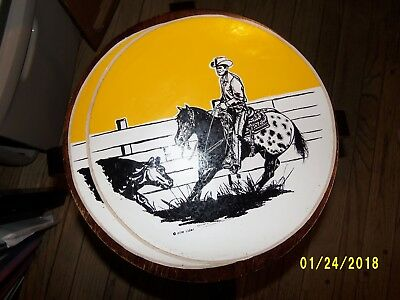 """Cowboy & His Appaloosa Horse-Truck! 2 Antique Stickers! 11.5"""" Round! Frame It!"""