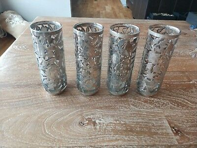 Sterling Silver Tom Colling Tea Tumbler Glass Set