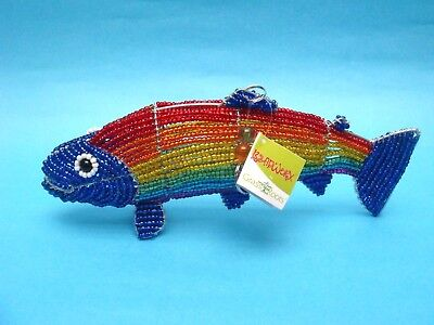 Beadworx Rainbow Trout Fish Sculpture Glass Bead and Wire Animal Decor Hangable!