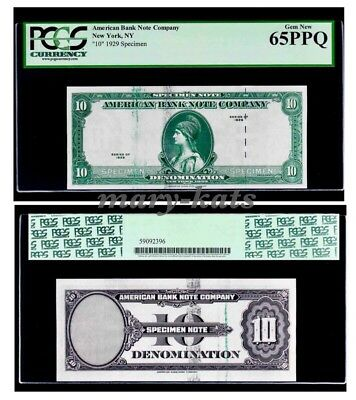 1929 American Bank Note Company Test Specimen Note Pcgs Gem New 65 Ppq