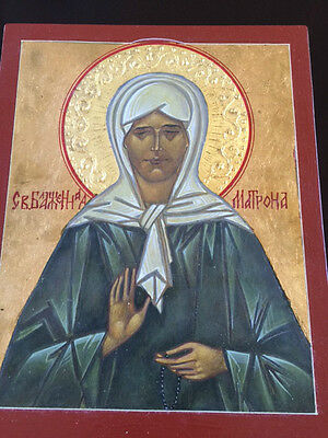 St. Matrona of Moscow Orthodox icon hand painted egg tempera on wood board