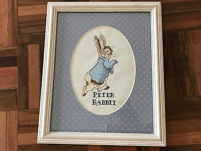 Finished framed matted Beatrix Potter Peter Rabbit cross stitch bunny baby room