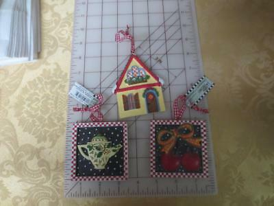 3 NWT Mary Engelbreit Square Resin Christmas Ornaments House~Cherries~Teapot