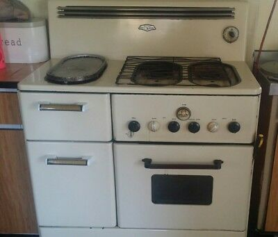 meters early kooka gas oven/stove from 1950s antique vintage retro cast iron