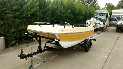 Project boat Markham Whaler 3.8 mt twin Hull cat on trailer with steering.