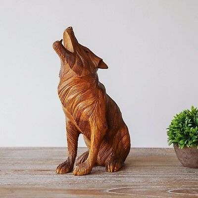 Wolf Statue Wood Sculpture Carving Wooden Decoration Animal Woodcarving Decor