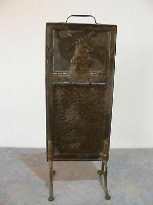 Antique Vintage Beaten Metal Mystery Stand With Windmill - Jewellery, Keys?