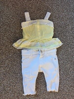 river island baby girls outfit, white jeans with beautiful white and lemon top