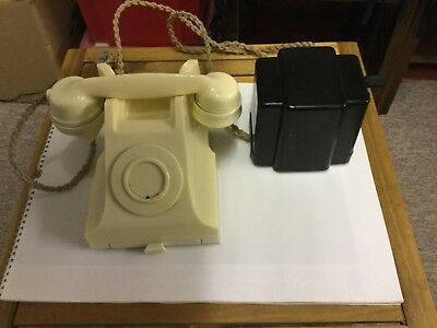 1950's GPO Bakelite telephone, with attached ringer generator, with original cor