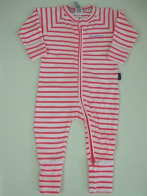 Bonds Baby Long Sleeve 2 Way Zip Wondersuit size 3 Colour Pink White