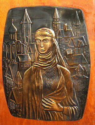 Vintage copper wood plaque wall hanging woman & cityscape