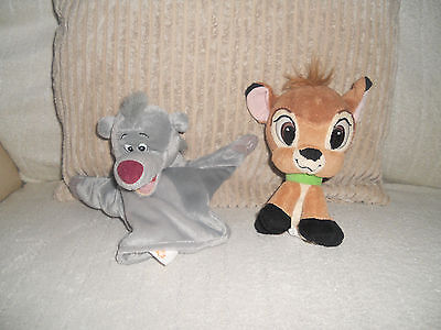 2 Disney Bambi Soft Toy & The Jungle Book Baloo Bear Hand Puppet Bundle
