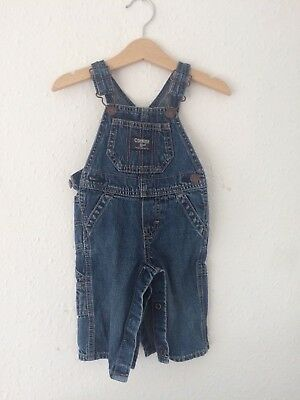Retro Kids Osh Kosh Classic 90s Blue Denim Engineer Overalls Dungarees 18M