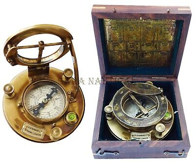Antique Brass Sundial Compass J.H.STEWARD Marine STRAND LONDON with Hardwood Box