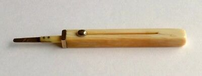 RARE SAMPSON MORDAN 10CT GOLD AND BOVINE BONE TELESCOPIC TOOTHPICK c.1880