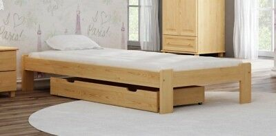 Wooden Solid Pine Wood Bed Frame with Slats 3FT Single 90x190 Furniture Drawer