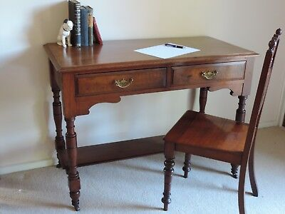 Edwardian Mahogany Writing Desk, With 2 Drawers Brass Handles & Porcelain wheels