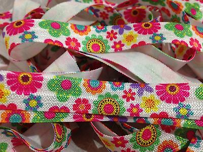 "1m/5m Flowers on White FOE 5/8"" Fold Over Elastic Head Band Floral"
