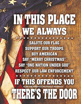 In This Place We Always Salute The Flag Tin Sign Patriotic Home Office 13 x 16