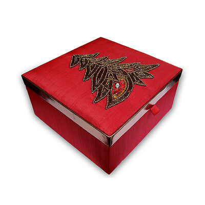 Handmade Decorative Christmas MDF Wood Box Pasted with Silk Satin Fabric
