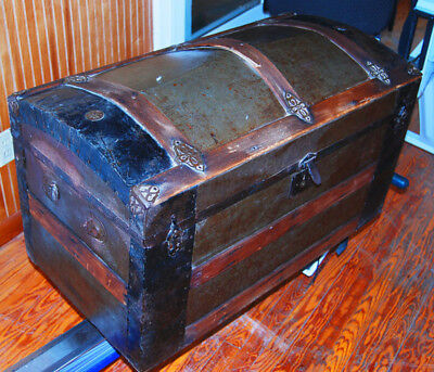 Vintage Camelback Trunk metal-sheathed Wood with ornate fittings