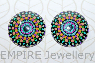 1 x Pretty Kaleidoscope Pattern #4 25x25mm Glass Dome Cabochon Cameo
