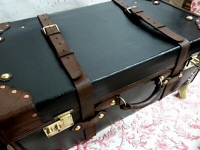 Vintage Leather,Canvas Brass Trunk Suitcase,Chest,Brass Lock & Key, Coffee Table