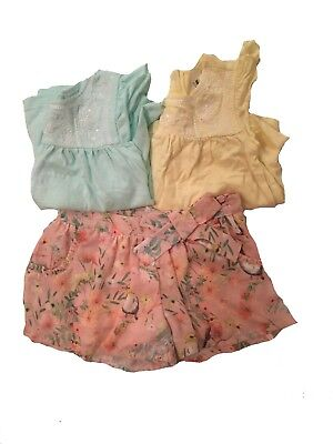 Girls coral skort and two matching tops size 3