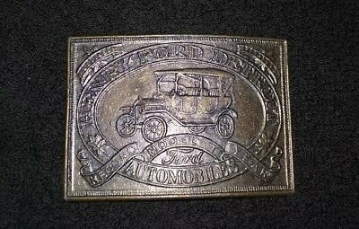 Vintage HENRY FORD DETROIT MODEL T Belt Buckle Automobiles Record Year