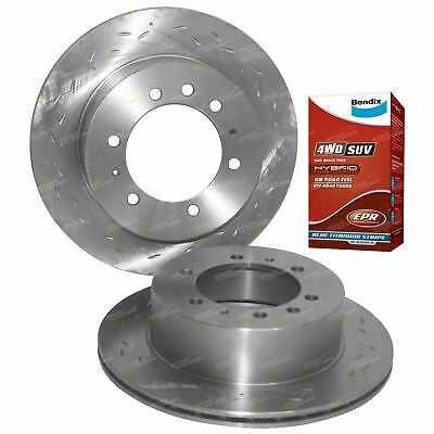 2 Rear Slotted+Drilled Disc Rotors + Bendix 4x4 Brake Pads Patrol 2.8 4.2 GQ Y60