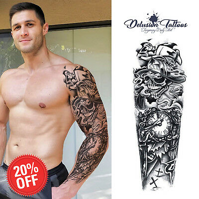 Full Sleeve Temporary Tattoo Transfer Skull - Next Day Delivery