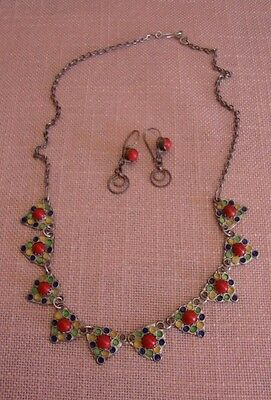 Parure Ancienne Berbere Kabyle Argent Emaux Corail