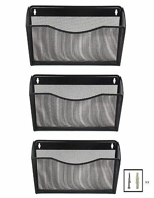 office hanging organizer. Wall Mount Office File Hanging Organizer Folder Holder Rack Storage 3-Pack Black