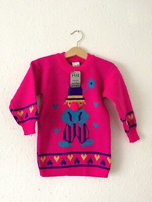 Vintage Kids 70s NOS Deadstock Clown Pink Kitsch Retro Novelty Jumper 2 3 4 Y