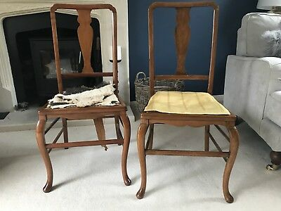 Mahogany Dining Chairs Pair For Restoration