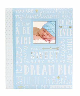 NEW Blue Words Baby Boy Memory Keepsake Book Record, Babies Gift For Little Man