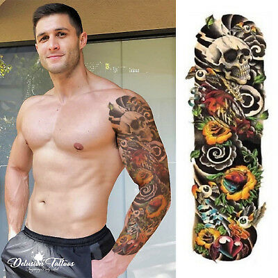 Full Sleeve Temporary Tattoo  Skull, Roses, Transfer Paper - Fast Delivery