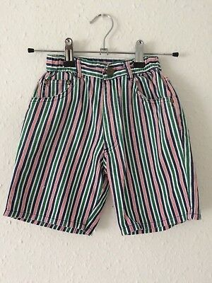 Vintage Kids Classic 90s Preppy Retro Sailor Green Red White Stripe Shorts 2 3 Y