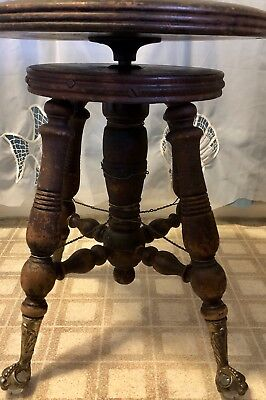 Antique/Vintage Wood Piano stool swivel seat Glass ball & claw feet Parts Repair