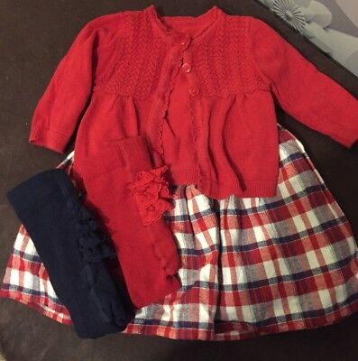 Baby Girls Dress, Cardigan and Tights 3-6 Months